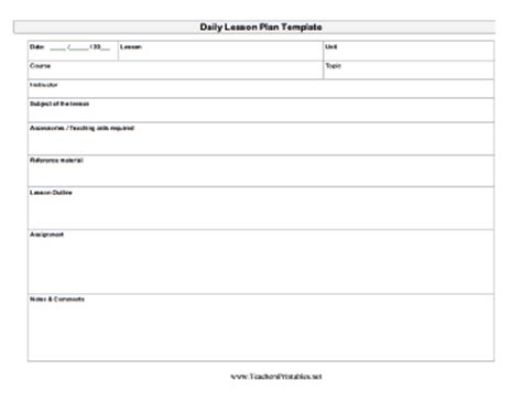 Galerry free printable daily lesson plan