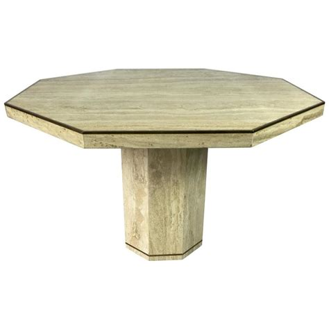 Travertine Marble Octagonal Center Or Dining Table With Travertine Dining Tables