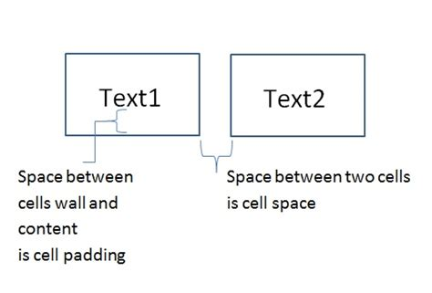 Css Table Cell Padding by Css Html Difference Between Cell Spacing And Cell