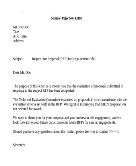 Rejection Letter Heading Sle Formal Letter 7 Exle In Pdf Word