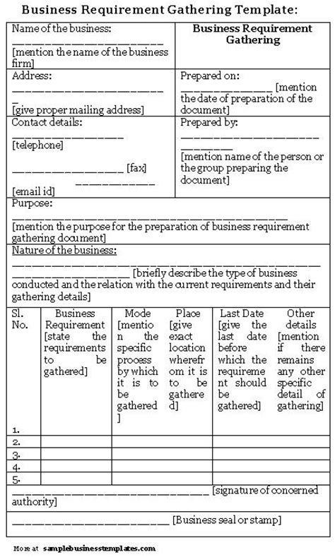 gathering business requirements template business requirement gathering template sle business