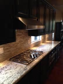 backsplash for busy granite redesigned kitchen including new granite mosaic glass