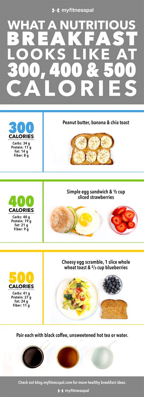Does This Look Like A 700 Calorie Lunch Myfitnesspal What A Nutritious Breakfast Looks Like At 300 400 500 Calories Infographic Myfitnesspal