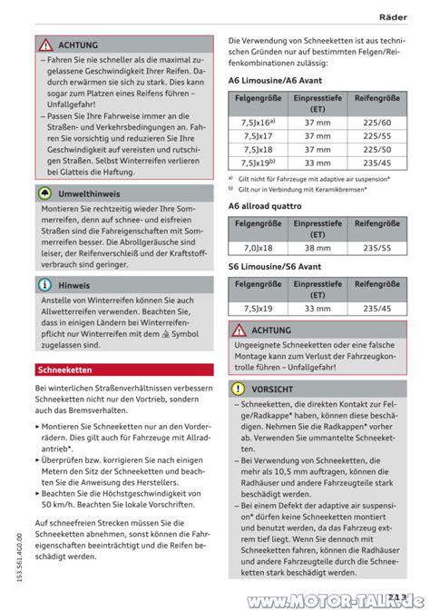 Schneeketten Audi A6 by Schneeketten Aus Handbuch Audi A6 Winterreifen Gr 246 223 Er 18