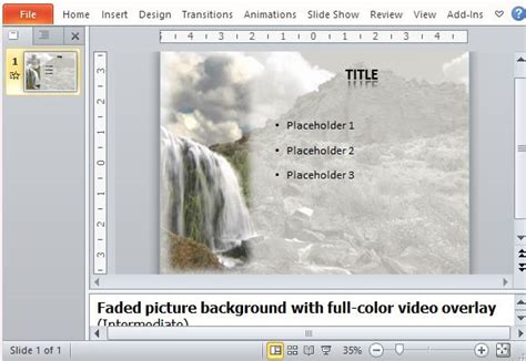 Free Powerpoint Template With Amazing Waterfall Video Background Picture Templates For Powerpoint
