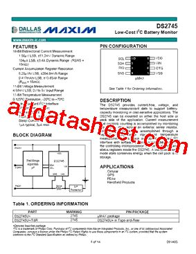 Ic Tda9111 ds2745 fiche technique pdf maxim integrated products