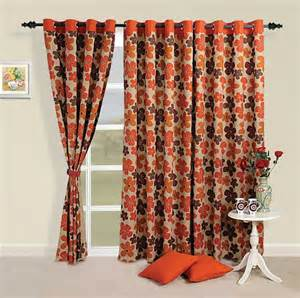 Curtains 108 Inches Long Buy Orange And Brown Floral Print Curtains By Swayam For