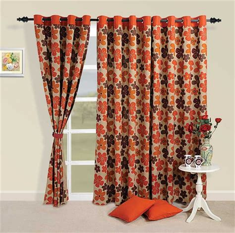 brown orange curtains buy orange and brown floral print curtains by swayam for