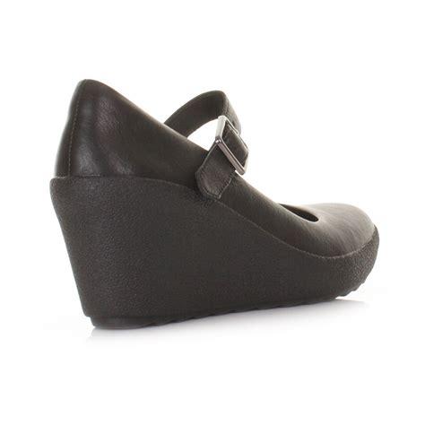clark wedge black womens clarks flake berry black leather wedge heel