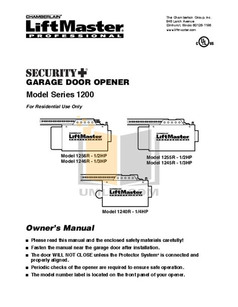 Chamberlain Liftmaster Professional Garage Door Opener Manual Chamberlain Garage Door Opener 81lm User S Guide Lift Master Garage Door Opener Manuals