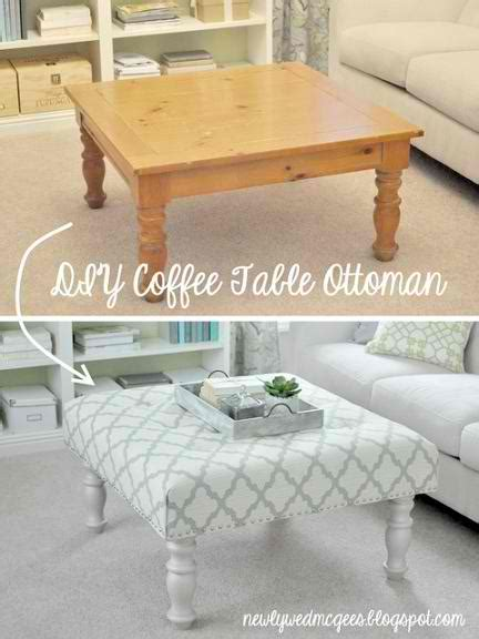 the diy coffee table to ottoman makeover