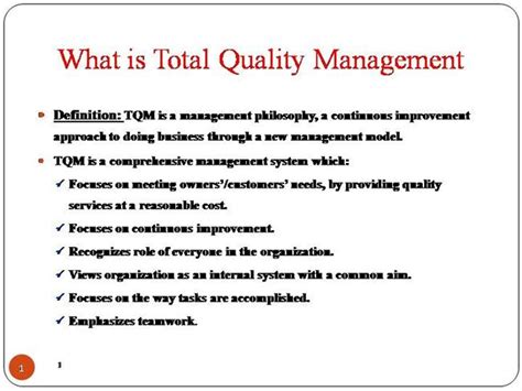 Total Quality Management Project For Mba Pdf by Total Quality Management Authorstream