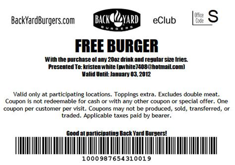 Backyard Burger Coupons Barbara S Beat Get A Free Back Yard Burgers Coupon Show