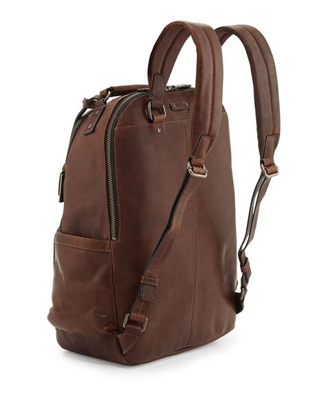 s leather backpack brown frye logan leather backpack brown in brown for lyst
