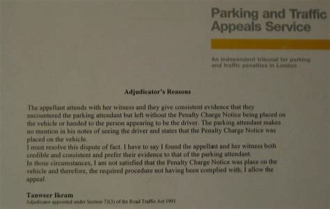 Appeal Letter Against Parking Penalty Charge Notice Appeal Study