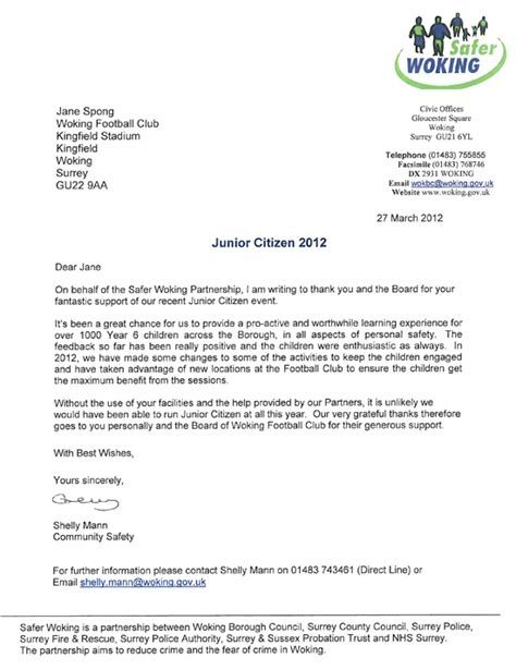 Release Letter From Soccer Club Woking Football Club News Junior Citizen 2012
