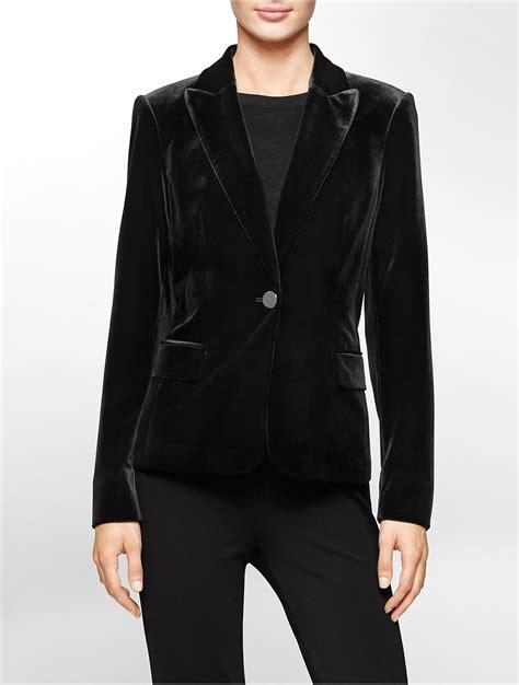 Black Blazer 1 lyst calvin klein white label one button velvet blazer in black