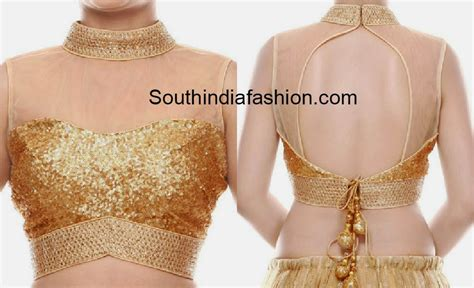 blouse pattern name high neck gold sequins blouse south india fashion