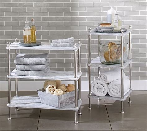 Metal Etagere Bathroom Metal Marble Etagere Pottery Barn