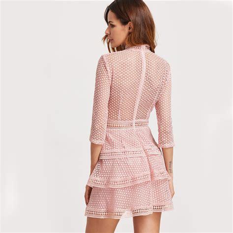 Crochet Pink Dress sheinside vintage crochet dress pink high neck 3 4