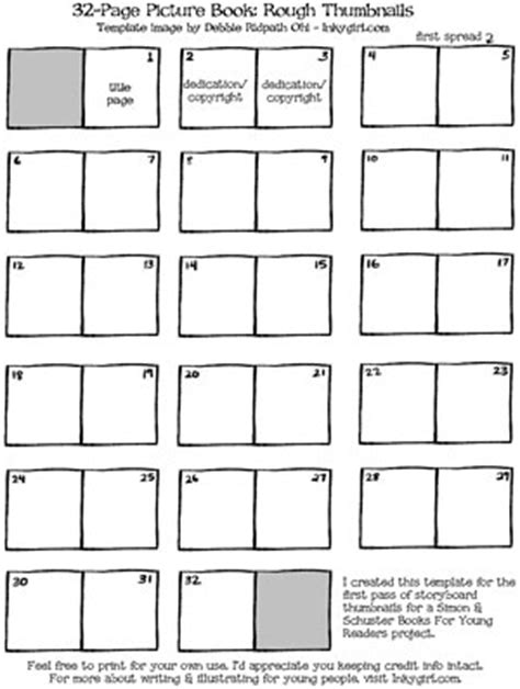 Free Picture Book Thumbnail Templates For Writers And Illustrators Inkygirl Guide For Kidlit Template For Writing A Children S Book