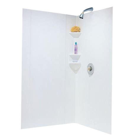 adhesive bathtub walls swan neo angle 38 in x 38 in x 70 in 3 piece easy up