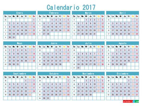 Calendario Por Semanas 2017 Para Imprimir Calendario 2017 Para Imprimir Gratis Pdf Word Plantilla