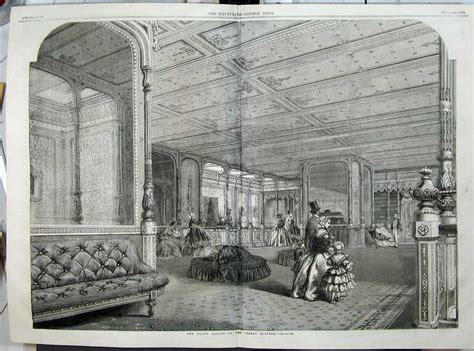 antique print 1859 interior grand saloon great eastern