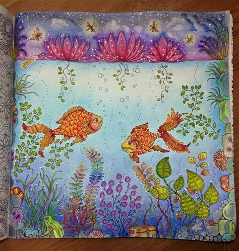 secret garden colouring book coloured in 26 best images about fish secret garden peixe jardim