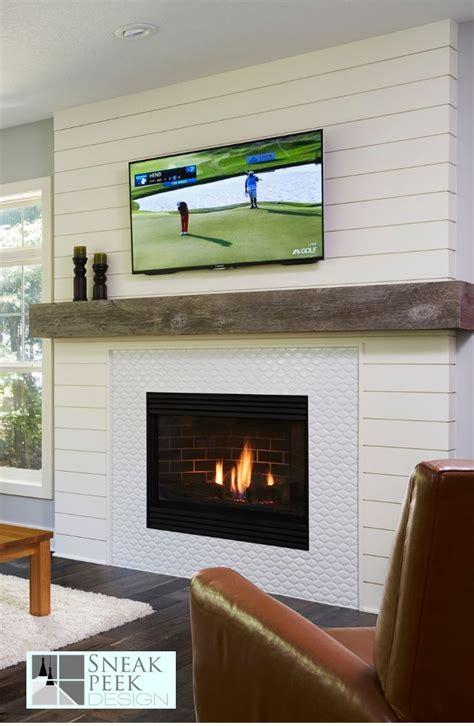 update  fireplace  shiplap  arabesque tile