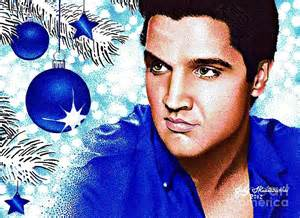 Xmas Duvet Cover Elvis Blue Christmas Drawing By Judy Skaltsounis