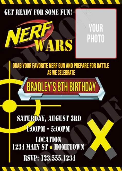 Personalized Printable Invitations Cmartistry Nerf Gun War Battle Birthday Party Photo Nerf Invitation Template Free