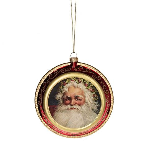old fashioned santa disk ornament traditional christmas