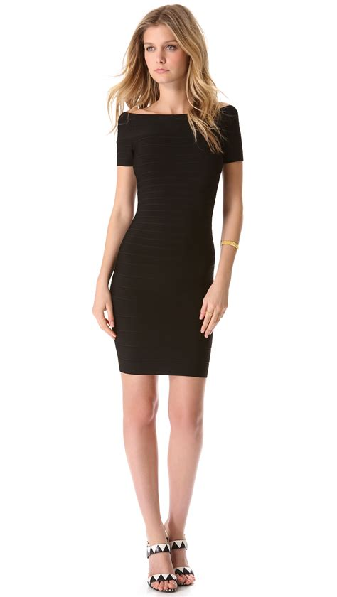 Black Shoulder Dress herv 233 l 233 ger shoulder dress in black lyst