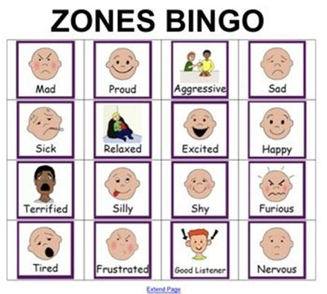 zones of regulation printable signs bingo unique and zones of regulation on pinterest