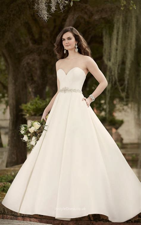 Strapless Sweetheart Sophisticated Ivory Satin Ball Gown Wedding Dress   InstyleDress.co.uk