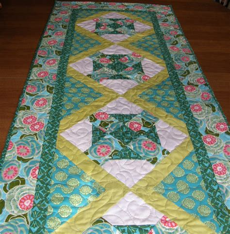 Aqua Table Runner by Quilted Table Runner Aqua Lime Green Quiltsy