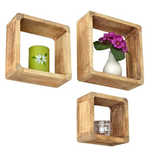 wall shelf 3x lounge cube design retro hanging solid wood