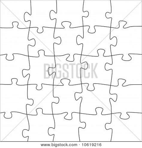 5x5 jigsaw puzzle template vector photo bigstock