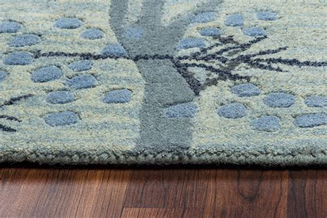 Botanical Area Rugs Craft Botanical Branches Wool Area Rug In Blue Grey Ivory 5 X 8