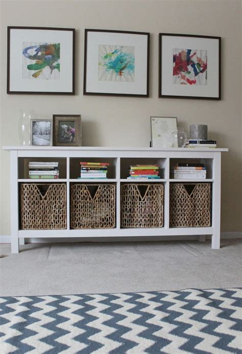 use hemnes sofa table as media center below wall mounted