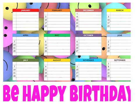 birthday reminder calendar template birthday chart template word birthday reminder calendar