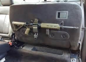arma15 installed in truck rear seat ar15 m4 locking