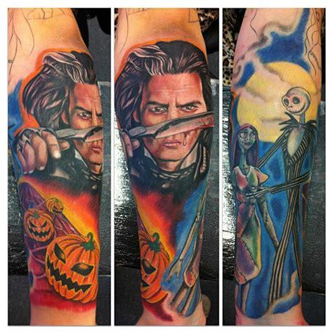 tim burton tattoo sleeve tim burton half sleeve by marshall tattoonow