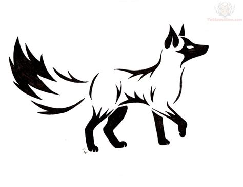 fox logo tattoo designs black fox design