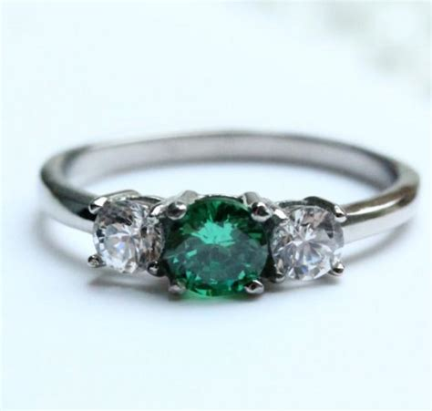 1ct genuine emerald trilogy ring available in sterling