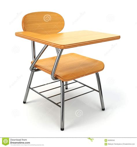 white school desk wooden school desk and chair on white stock illustration