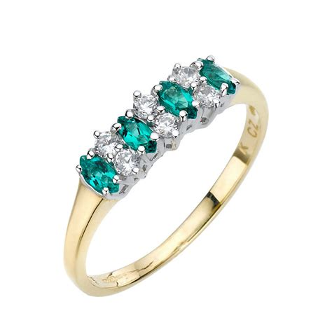 9ct yellow gold created emerald cubic zirconia ring h
