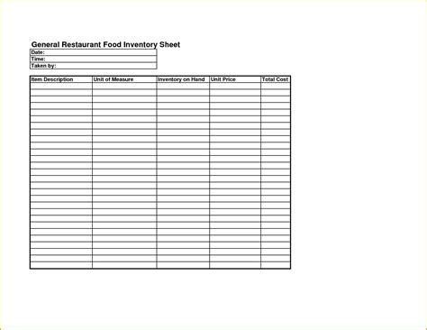 Take Sheet Template by Food Cost Inventory Spreadsheet Laobingkaisuo