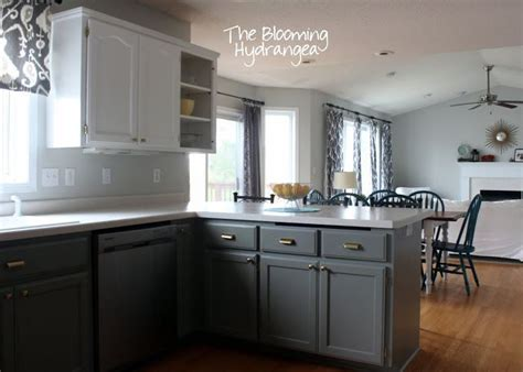 gray painted cabinets from oak to awesome painted gray and white kitchen